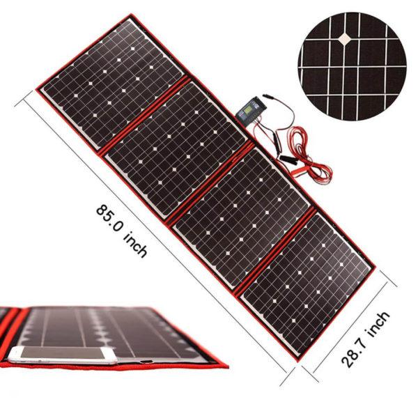 simpliphi power dokio 200 watts 12 volts foldable solar panel dimension graphic BG 1200 12 EK