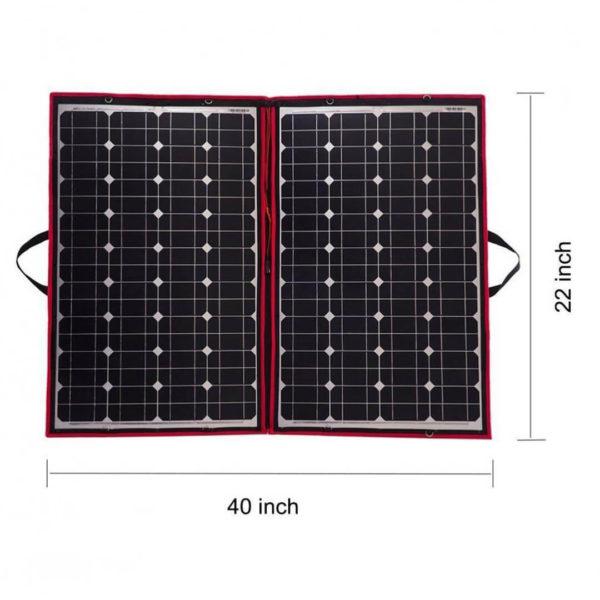 simpliphi power dokio 80 watts 12 volts foldable solar panel dimension graphic LG 287 12 EK