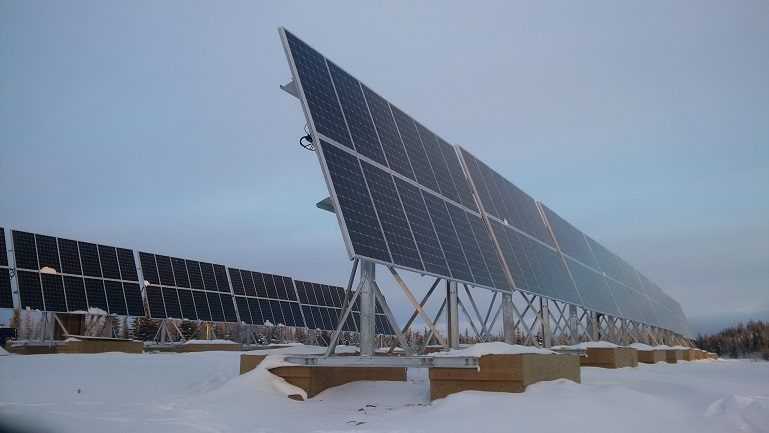 Solar panels kept afloat from the permafrost
